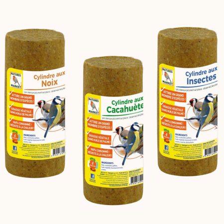 Ensemble de 3 cylindres à base de graisse végétale pour oiseaux